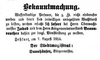 Bekanntmachung HT 7.8.1914
