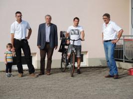 Bastian Hümmer, Bürgermeister Bernhard Ruß, Matthias Naumann und Paul Hümmer