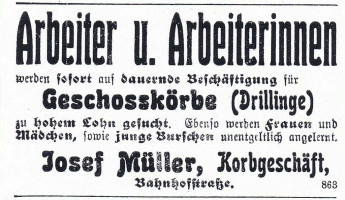Inserat für Geschosskörbe 1917