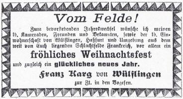 Inserat Karg Wülflingen 1915