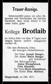 Brotlaib 1917